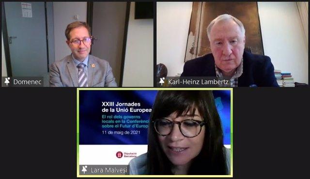 L'eurodiputat Domènec Ruiz Devesa (S&D) i l'expresident del Comitè de Regions d'Europa (CdR), Karl-Heinz Lambertz, en les XXIII Jornades de la Unió Europea de la Diputació de Barcelona i les intituciones europees a Barcelona l'11 de maig del 2021.