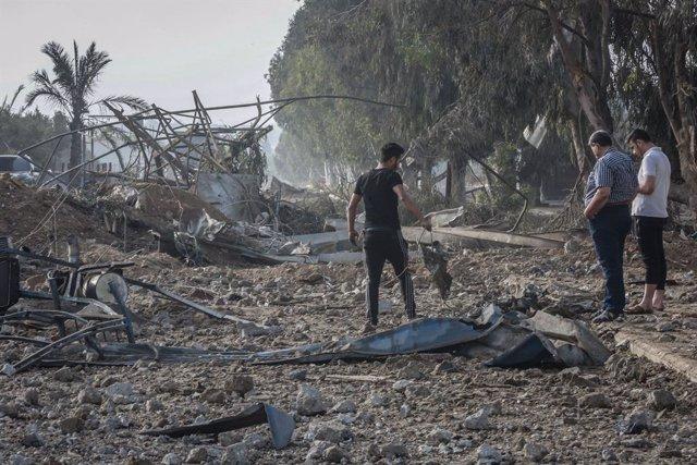 Daños materiales de un bombardeo de Israel contra la Franja de Gaza