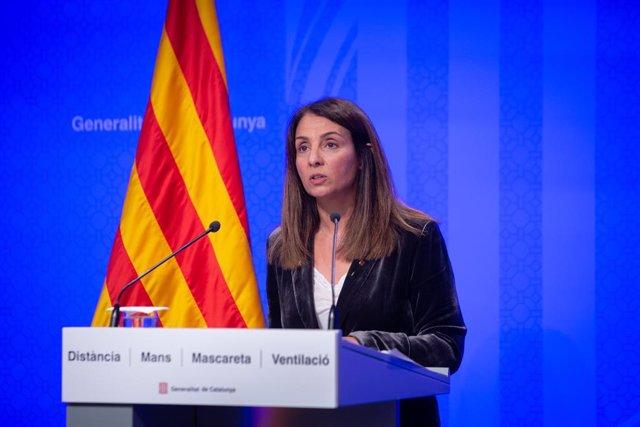 La portaveu del Govern en funcions, Meritxell Budó, en la roda de premsa després del Consell Executiu.