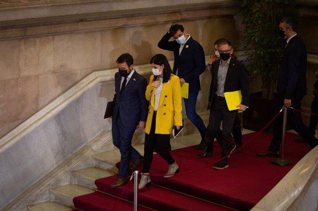 Archivo - Arxiu - El candidat d'ERC a la presidència de la Generalitat, Pere Aragonès, al costat de Marta Vilalta, Josep Maria Jové i Sergi Sabrià.