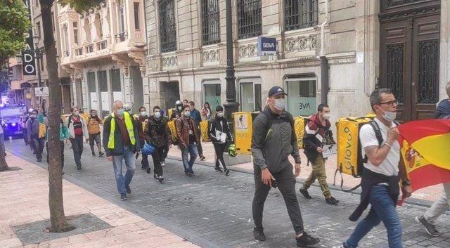 Archivo - Arxiu - Manifestació de 'riders'.
