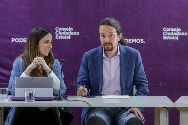 Archivo - Arxiu - El secretari general de Podem, Pablo Iglesias, i la ministra de Drets Socials, Ione Belarra