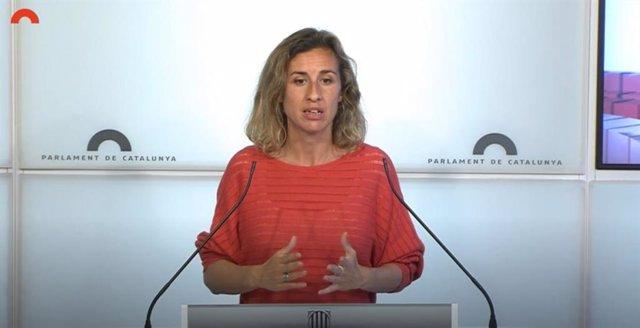 Archivo - Arxivo - La diputada de la CUP en el Parlament Laia Estrada en roda de premsa