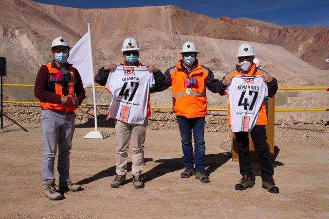 Archivo - Los presidentes de Codelco, Juan Benavides y Octavio Araneda, en la inaguración del proyecto Rajo Inca
