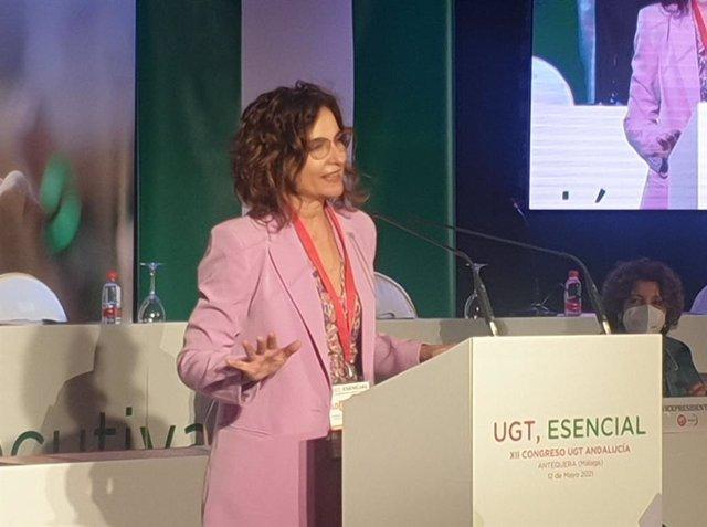 María Jesús Montero, ministra de Hacienda, en el 12 congreso de UGT Andalucía