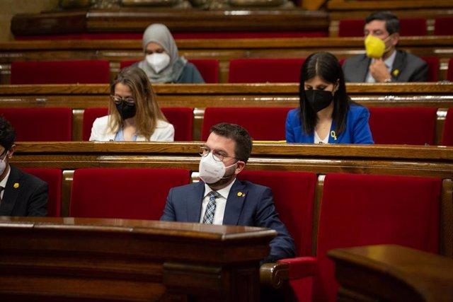 El vicepresidente de la Generalitat en funciones, Pere Aragonès, durante un acto en el Parlament de Catalunya, a 13 de mayo de 2021, en Barcelona, Catalunya, (España).