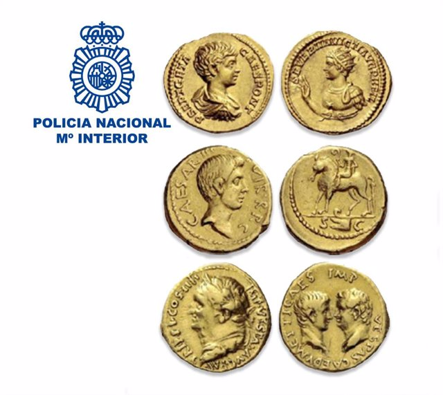 Imatge de les sis monedes auris.