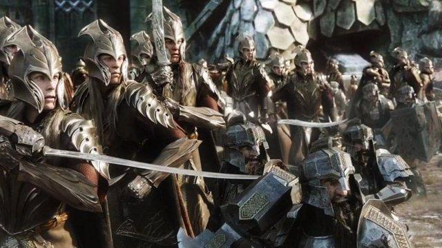Imagen de una batalla de El Hobbit, la precuela de El señor de los anillos