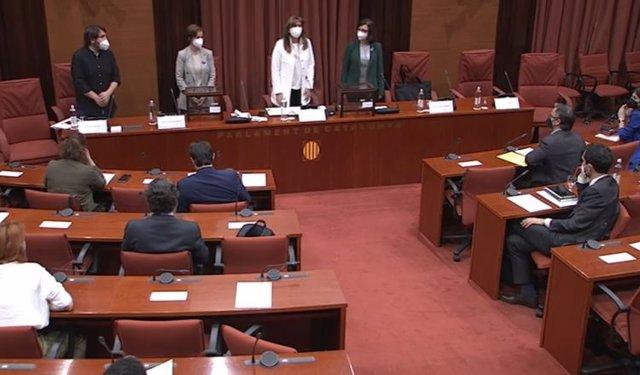 Sessió constitutiva de la Diputació Permanent del Parlament, el dijous 13 de maig del 2021.