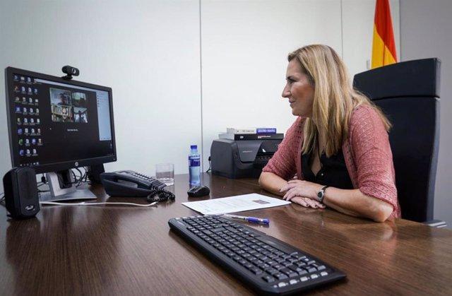 Archivo - La presidenta del PP navarro,  Ana Beltrán, se reúne por vía telemática con la Asociación por la Tolerancia. En Madrid, a 8 de octubre de 2020.