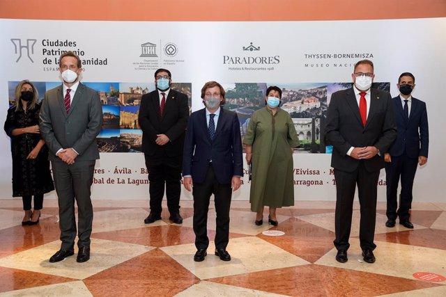 Presentación de la oferta turística del Grupo de Ciudades Patrimonio de la Humanidad de España y Paradores de Turismo de España en el Museo Nacional Thyssen-Bornemisza, a 13 de mayo de 2021, en Madrid (España).