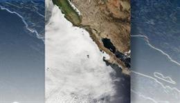 Nubes de estratocúmulos marinos a lo largo de las costas de California y Baja California, según reveló un satélite de la NASA.