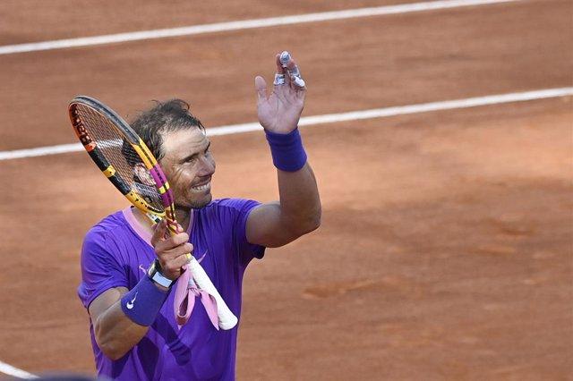 13 May 2021, Italy, Rome: Spanish tennis player Rafael Nadal celebrates after defeating Canada's Denis Shapovalov in their men's round of 16 singles tennis match of the Italian Open tennis tournament. Photo: Fabrizio Corradetti/Zuma Press/dpa