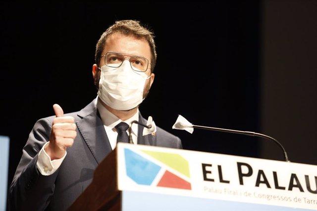 Arxiu - El vicepresident del Govern, Pere Aragonès, durant la seva intervenció.