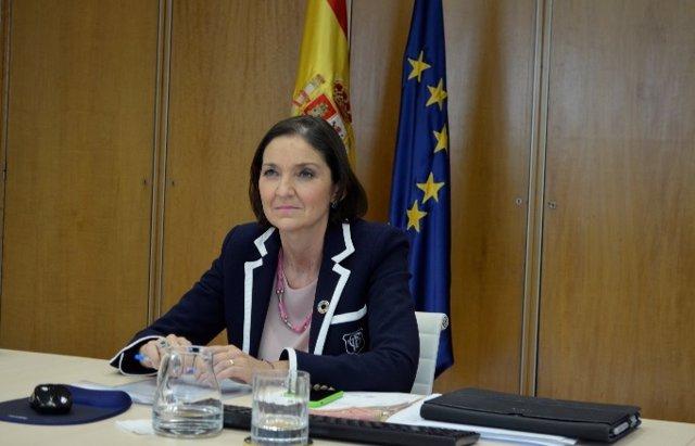 La ministra de Industria, Comercio y Turismo, Reyes Maroto, durante el Foro de Alto Nivel para el Turismo Sostenible.