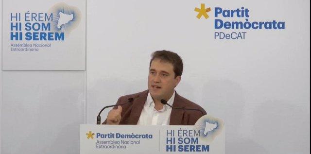 El president del PDeCAT David Bonheví durant la seva intervenció en el Consell Nacional del PDeCAT.