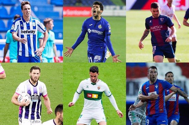 Archivo - Alavés, Getafe, Huesca, Real Valladolid, Elche y Eibar pelean por evitar el descenso