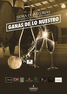 Archivo - Cartel de la campaña navideña de DOP Sidra de Asturias.