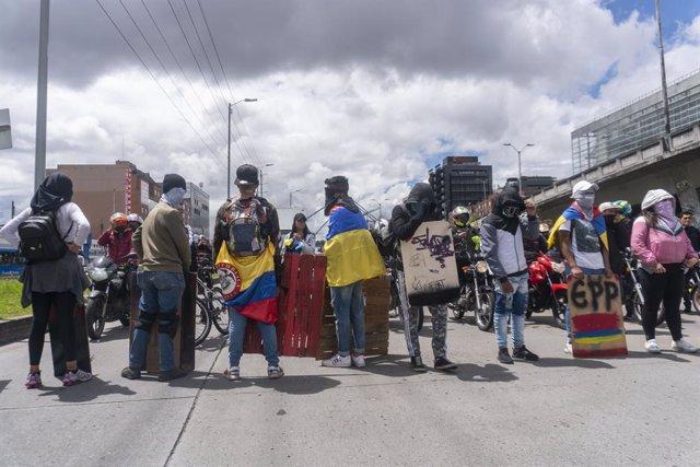 Manifestants durant l'atur nacional a Colòmbia