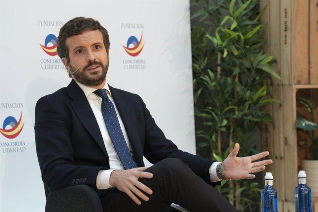 El líder del PP, Pablo Casado, en les jornades 'Reto Demográfico' que ha organitzat la Fundación Concordia y Libertad.