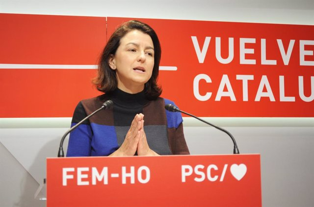 Eva Granados (PSC) en roda de premsa el 17 de maig.