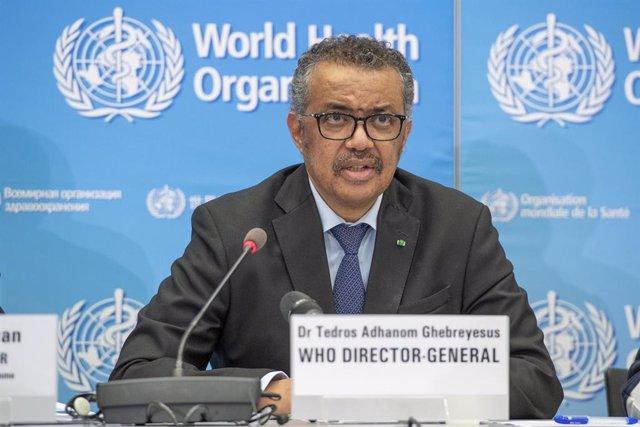 Archivo - El director general de la Organización Mundial de la Salud (OMS), Tedros Adhanom Ghebreyesus, durante la rueda de prensa diaria del organismo sanitario internacional sobre el brote de coronavirus Covid-19. 24 de febrero de 2020.