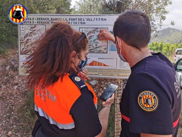 Tasques per a localitzar un senderista perdut en la muntanya de Xeraco (València)