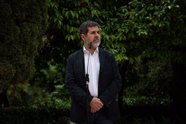 El secretari general de Junts, Jordi Sànchez, en una conferència de premsa als Jardins del Palau Robert, 17 de maig del 2021.