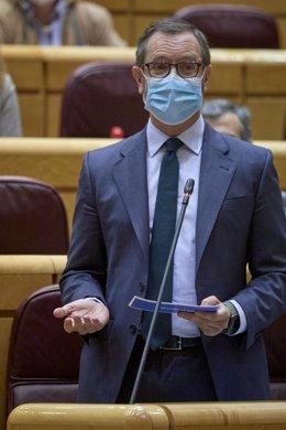 Archivo - El portavoz del Grupo Popular en el Senado, Javier Maroto, interviene durante una sesión de control al Gobierno en el Senado, a 13 de abril de 2021, en Madrid (España).