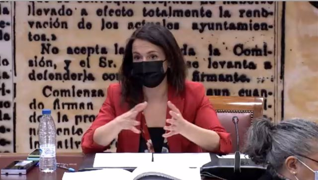 La secretaria de Estado de Sanidad, Silvia Calzón, en la Comisión de este martes 18 de mayo de 2021 de Sanidad y Consumo del Senado