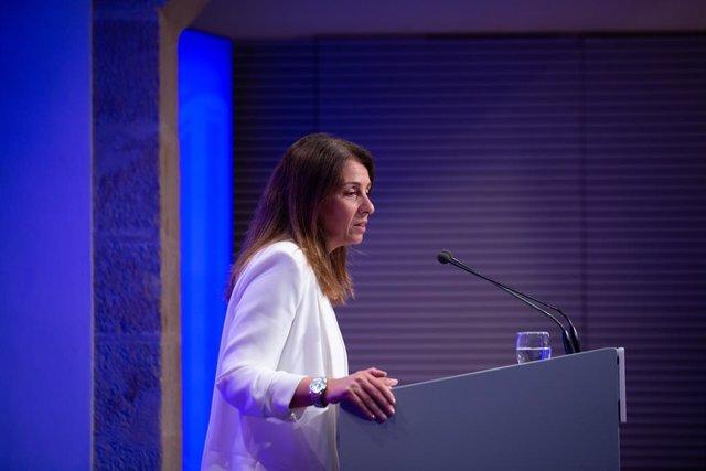 La consellera de Presidència i portaveu del Govern en funcions, Meritxell Budó, en roda de premsa després del Consell Executiu.