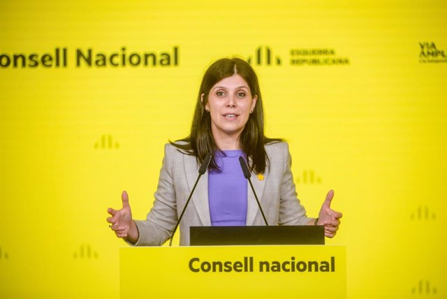 La secretària general adjunta i portaveu d'ERC, Marta Vilalta, durant la seva intervenció telemàtica en el Consell Nacional d'ERC.