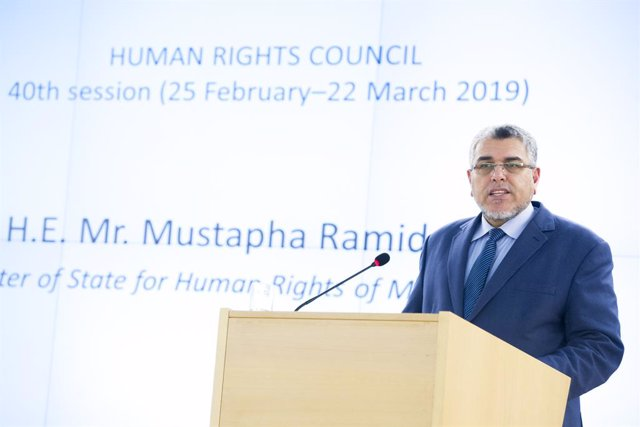 Archivo - HANDOUT - 25 February 2019, Switzerland, Geneva: Moroccan Minister of State of Human Rights Mustafa Ramid, speaks during the opening of the 40th session of the UN Human Rights Council. Photo: Violaine Martin/UN Geneva/dpa - ATTENTION: editorial