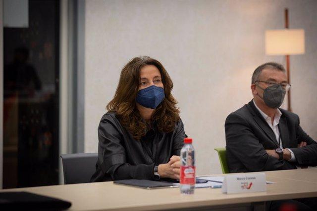 Archivo - Arxivo - La presidenta del Port de Barcelona, Mercè Conesa, durant una reunió en la segona jornada de ?Barcelona reAct?, a 14 d'abril de 2021, a Barcelona, Catalunya, (Espanya).