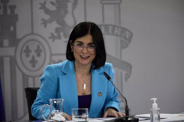 La ministra de Sanidad, Carolina Darias comparece en una rueda de prensa posterior a la reunión del Consejo Interterritorial del Sistema Nacional de Salud (CISNS), en una foto de archivo