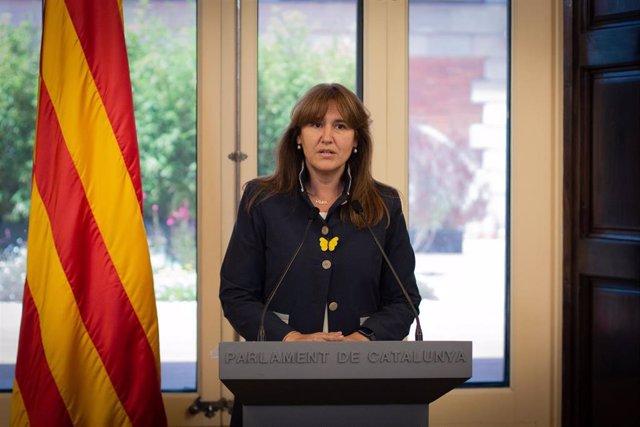 La presidenta del Parlament, Laura Borràs, compareix per anunciar a Pere Aragonès com a candidat a la investidura.