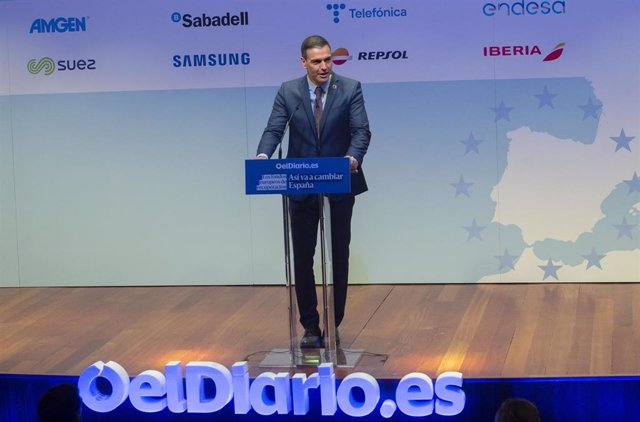 """El presidente del Gobierno, Pedro Sánchez interviene en la clausura de la Jornada sobre """"Los fondos europeos de recuperación: así va a cambiar España"""" organizado por 'Eldiario.es'"""