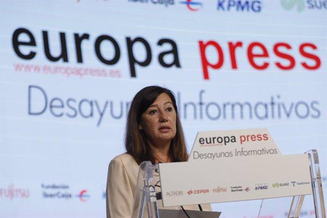 La presidenta del Govern de les Illes Balears, Francina Armengol, intervé en un Esmorzar Informatiu d'Europa Press, 20 de maig del 2021.