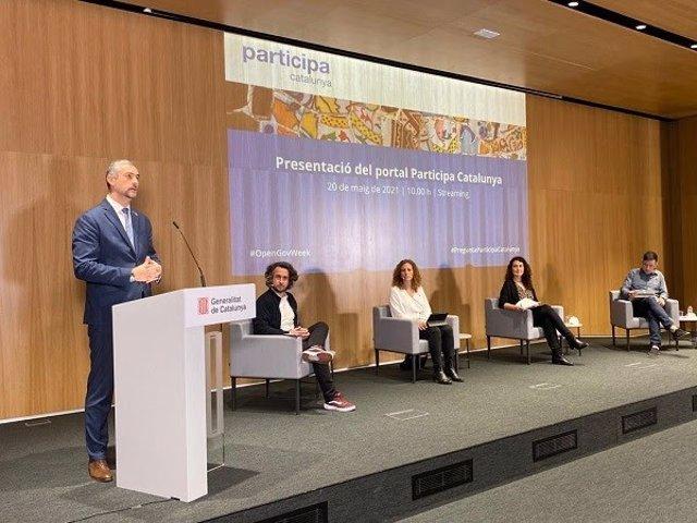 El conseller d'Acció Exterior de la Generalitat, Bernat Solé, en la presentació de Participa Catalunya.