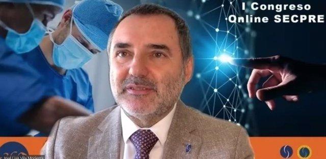 El doctor José Luis Vila Moriente, presidente de la SECPRE, durante la presentación del Congreso Online