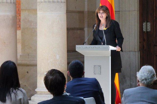 La presidenta del Parlament Laura Borràs en l'acte del Dia Internacional contra l'Homofòbia.