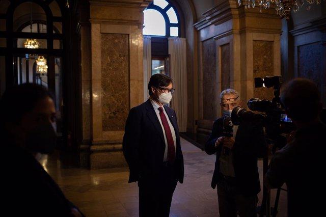 Salvador Illa (PSC) en el Parlament durant el debat d'investidura de Pere Aragonès (ERC).