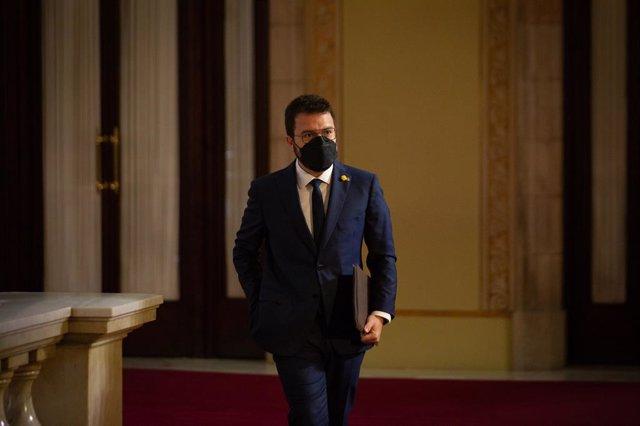 El vicepresident en funcions del Govern, Pere Aragonès, en el ple d'investidura al Parlament.