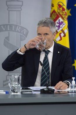 Arxiu - El ministre d'Interior, Fernando Grande-Marlaska, en la roda de premsa posterior al Consell de Ministres a La Moncloa.