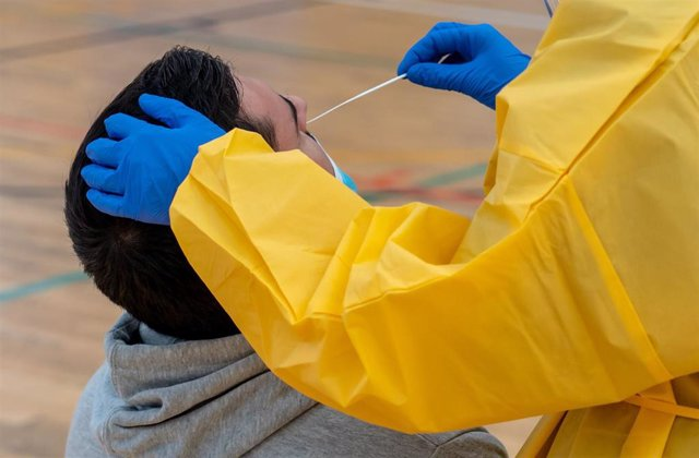 Archivo - Sanitarios trabajando durante las pruebas de cribado de covid-19 con test de antígenos en el pabellón deportivo de 'El Paraguas'. En Sevilla (Andalucía, España), a 28 de octubre de 2020.
