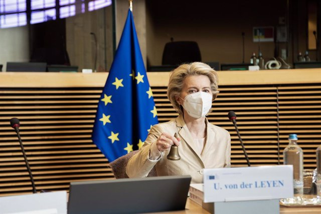 HANDOUT - 12 May 2021, Belgium, Brussels: President of the European Commission Ursula von der Leyen chairs the weekly meeting of the Commission. Photo: Jennifer Jacquemart/European Commission/dpa - ATTENTION: editorial use only and only if the credit ment
