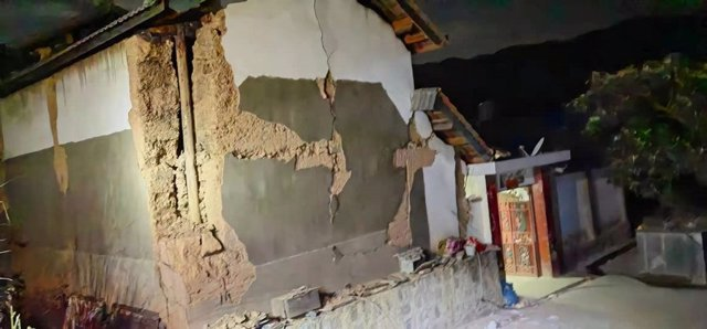 Uno de las viviendas afectadas por el terremoto de Yunnan, en el sur de China