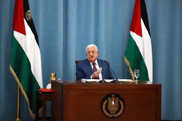 12 May 2021, Palestinian Territories, Ramallah: Palestinian President Mahmoud Abbas speaks during an emergency meeting of the PLO executive committee and Fatah Central Committee in the West Bank City of Ramallah. Photo: Issam Rimawi/APA Images via ZUMA Wi