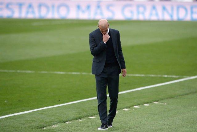 Zinedine Zidane, head coach of Real Madrid, laments during the spanish league, La Liga, football match played between Real Madrid and Villarreal CF at Alfredo Di Stefano stadium on may 22, 2021, in Valdebebas, Madrid, Spain.
