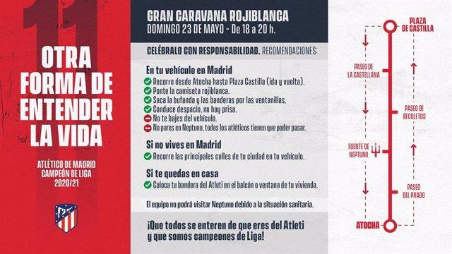 Cartel del Atlético de Madrid invitando a celebrar en coche la victoria de la Liga